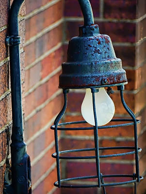 Photograph - Train Depot Vintage Light Fixture - 1b by Greg Jackson