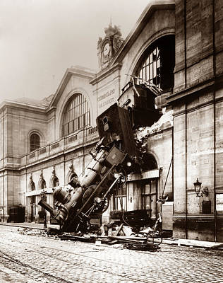 Railroad Stations Photograph - Train Derailment At Montparnasse Station - 1895 by War Is Hell Store