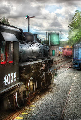 Train - Engine - 4039 - In The Train Yard  Art Print by Mike Savad