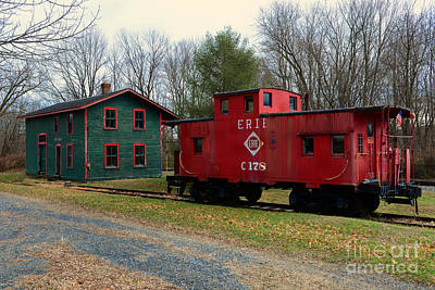 Train - Erie Rr Line Caboose Print by Paul Ward