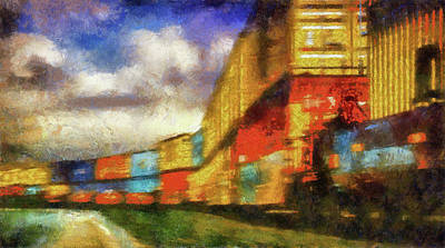 Mixed Media - Train Freight Cars by Joseph Hollingsworth