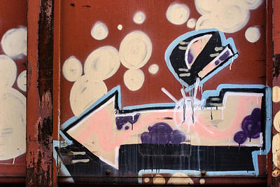 Grafitti Photograph - Train Graffiti Pale Arrow by Carol Leigh
