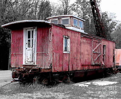 Primitive Photograph - Train In Barn Red  by Steven Digman