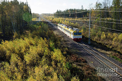Photograph - Train In Fall Colored Landscape by Kennerth and Birgitta Kullman