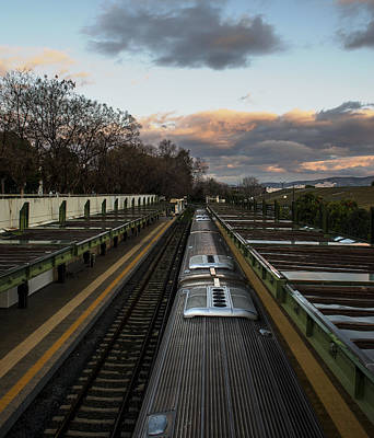 Photograph - Train In Metro Station On Sunrise by Radoslav Nedelchev