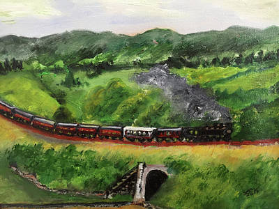 Painting - Train In The Country by Lucille Valentino