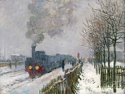 Trees Painting - Train In The Snow Or The Locomotive by Claude Monet