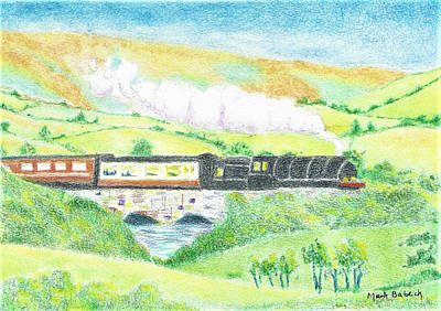 Pasture Scenes Drawing - Train In The Valley by Mark Babeck