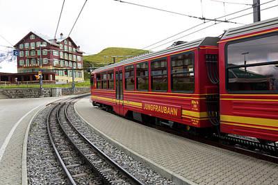 Jungfraujoch Photograph - Train, Kleine Scheidegg, Switzerland by Bruce Beck