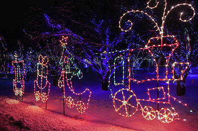 Photograph - Train Of Lights At Lilacia Park by Joni Eskridge