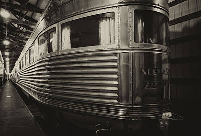 Rusted Cars Mixed Media - Train Of The Goddess Nebraska Zephyr End Car Sepia by Thomas Woolworth