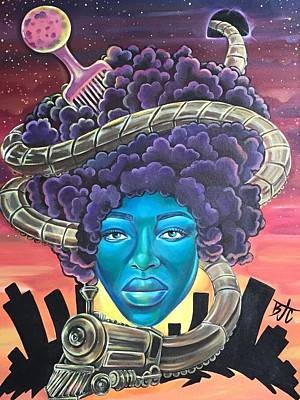 Afrocentric Painting - Train Of Thought by Creatif Vie