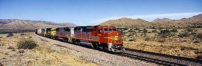 Freight Train Photograph - Train On A Railroad Track, Santa Fe by Panoramic Images
