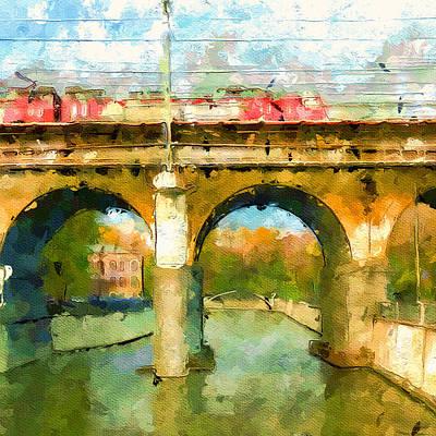 Digital Art - Train On Bridge by Yury Malkov