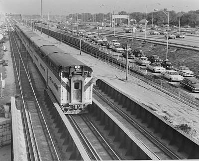 Photograph - Train On Kennedy Expressway - 1961 by Chicago and North Western Historical Society