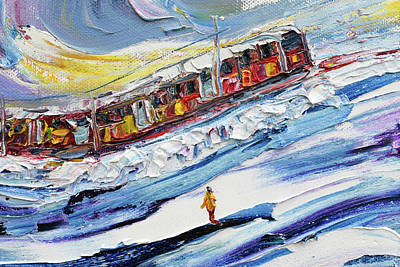 Painting - Train On The Piste by Pete Caswell
