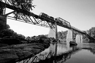 Dash 9 Photograph - Train Over The Congaree In Bw by Joseph C Hinson Photography
