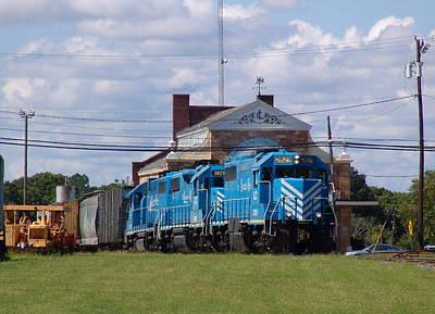 Photograph - Train Passes Lancaster Railroad Depot by Joseph C Hinson Photography