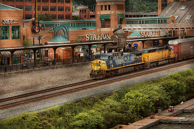 Photograph - Train - Pittsburg, Pa - Station Square by Mike Savad