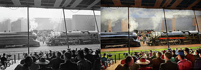 Photograph - Train - Railroad Pageant 1939 - Side By Side by Mike Savad
