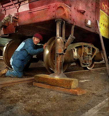 Photograph - Train Repair - Fixing A Flat 1942 by Mike Savad