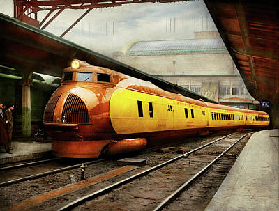 Photograph - Train - Retro - The Streamlined M-10000 1934 by Mike Savad