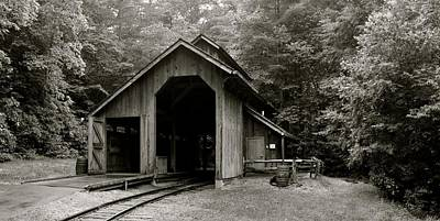 Shed Digital Art - Train Shed Bw by Gary Conner
