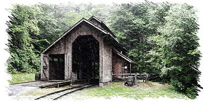 Shed Digital Art - Train Shed Sketch by Gary Conner