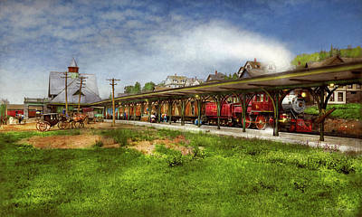 Photograph - Train Station - Adirondacks Ny - The Central Station 1909 by Mike Savad