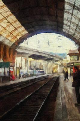 Digital Art - train station at Nice by Yury Malkov