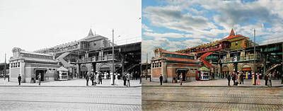 Houses Photograph - Train Station - Atlantic Ave Control House 1910 - Side By Side by Mike Savad