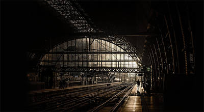 Digital Art - Train Station - Dark Modern Architecture Art by Wall Art Prints