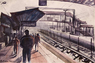 Painting - Train Station Early Morning by Mrutyunjaya Dash