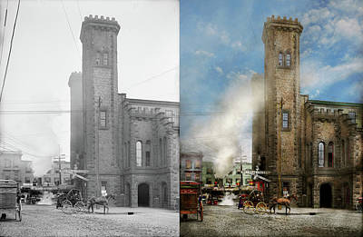Photograph - Train Station - Look Out For The Train 1910 - Side By Side by Mike Savad