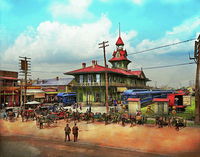 Photograph - Train Station - Louisville And Nashville Railroad 1905 by Mike Savad