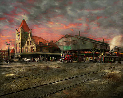 Train Photograph - Train Station - Ny Central Railroad Depot 1905 by Mike Savad