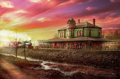 Photograph - Train Station - The Early Train 1900 by Mike Savad