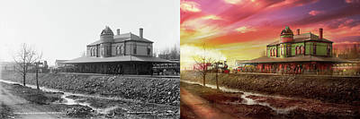 Photograph - Train Station - The Early Train 1900 - Side By Side by Mike Savad