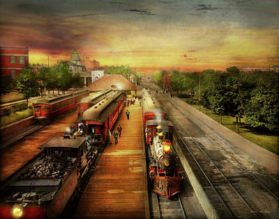 Photograph - Train Station - The Romance Of The Rails 1908 by Mike Savad