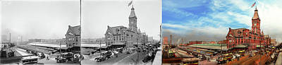 Photograph - Train Station - The Wells Street Station 1889 - Side By Side by Mike Savad