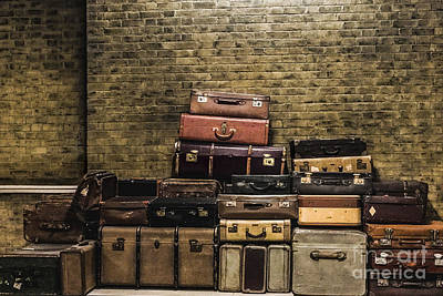 Wooden Platform Photograph - Train Station Vintage Luggage by Gary Keesler