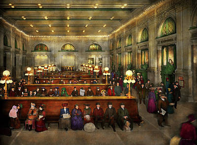 Train Station - Waiting In Grand Central Station 1902 Print by Mike Savad