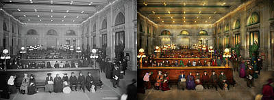 Photograph - Train Station - Waiting In Grand Central Station 1902 - Side By Side by Mike Savad