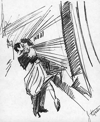 Drawing - Train Stop by John Keaton