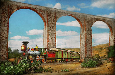 Photograph - Train - The Aqueduct Of Santiago De Queretaro 1885 by Mike Savad