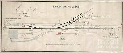 Drawing - Train Track Exchange Junction Blue Print Barnsley  by R Muirhead Art