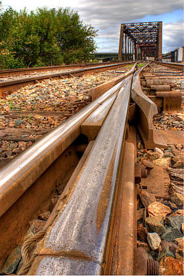 Photograph - Train Tracks And Bridge by Don Wolf