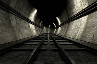 Rail Digital Art - Train Tracks And Tunnel by Allan Swart