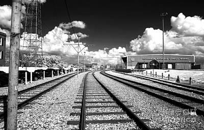 Photograph - Train Tracks Blue Infrared by John Rizzuto