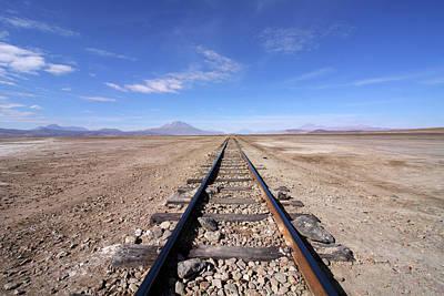 Photograph - Train Tracks In The Desert, Bolivia by Aidan Moran